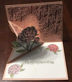 Flip Cards, Fancy Fold Cards, Folded Cards, Unique Cards, Cool Cards, Triangle Template, Pink Cards, Card Making Tutorials, Flower Stamp