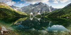 Panoramic view over Rysy Mountains and Sea Eye lake in Poland Tattoo Nature, Panoramic Images, Poland, Sea, Mountains, Photography, Travel, Photograph, Viajes