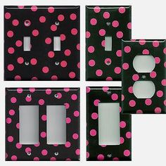 Black with Hot Pink Polka Dots Hand Made Light Switch Covers and Outlet Covers