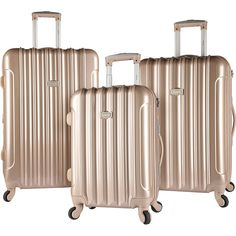 Kensie Luggage 3 Pc Expandable Hard Side Spinner Luggage Set ($174) ❤ liked on Polyvore featuring bags, luggage and metalic