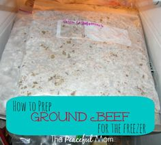 Save Money - How to Prepare Ground Beef for the Freezer - The Peaceful Mom Cleanse Recipes, Jam Recipes, Pork Recipes, Freezer Recipes, Batch Cooking, Freezer Cooking, Crock Pot Cooking, Frozen Ground Beef Recipe, Ground Beef Recipes
