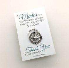 Male Teacher Gifts  Silver Compass Key Ring  Teacher