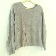 Anthropologie Gray Sweater with Silver Detail Lightweight knit with silver flower detail. In great condition, only worn twice. Brand: Knitted and Knotted Anthropologie Sweaters Crew & Scoop Necks