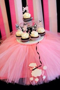 "Cute for a baby shower setup--could use cupcakes or cookies ""tulle tutu"" (not poodle)"