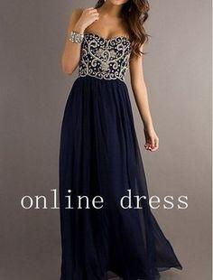 Dark Navy Blue Chiffon Floor Length Gown Dress Dress $150