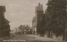 Kent, Tonbridge, High Street, old photo of the Public Hall and sign for Medway Coal Company