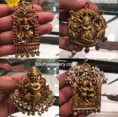 22 carat gold antique finish Lord krishna nakshi pendants studded with semi precious stones by Premraj Shantilal jewellers. Antique Jewellery Designs, Indian Jewellery Design, Gold Earrings Designs, Unique Earrings, Indian Jewelry, Jewelry Design, Antique Jewelry, Gold Temple Jewellery, Gold Jewelry