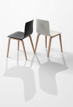 Chaise moderne DURANCE en bois et métal chromé blanc
