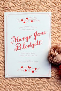 a birth announcement for margo is my fave by Sycamore Street Press