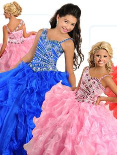 Ritzee Girls 7130 Asymmetrical Beaded Pageant Dress