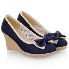 New Arrival Bows and Bordered Design Wedge Shoes For Women, DEEP BLUE, 38 in Wedges | DressLily.com