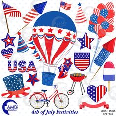 Fourth of July Cliparts! Everything you need to make that Project for Independence day! Hot air Balloons, fireworks, BBQ, Flags Balloons, everything you need! Happy Fourth of July!  Perfect for your invites and any craft and scrapbooking activity!  If you are interested in FREEBIES and contests, and want know what new packs I will be posting, visit and like my Facebook page : https://www.facebook.com/ambillustration  MATCHING PRODUCTS Stars and Stripes Digital Papers, AMB-828: ...