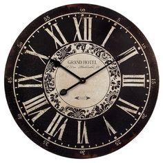 IMAX Grand Hotel Wall Clock in Black/White