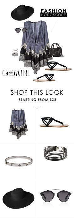 """""""Gemini"""" by ccoss ❤ liked on Polyvore featuring WithChic, Sole Society, Cartier, Charriol, Dorfman Pacific, Christian Dior, Balenciaga, fashionhoroscope and stylehoroscope"""
