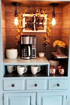 Beautiful home coffee bar ideas - such a clever way to refinish an old piece of furniture like a hutch or cabinet into something new! Bar Hutch, Hutch Redo, Hutch Cabinet, Coffee Bars In Kitchen, Coffee Bar Home, Repurposed Furniture, Diy Furniture, Coffee Nook, Dining Room Hutch