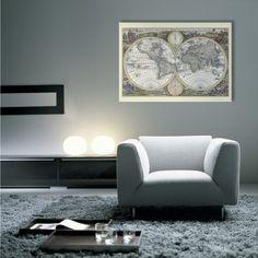 Wem die Vintage-Karte nicht alt genug ist, kann sich eine von 1700 bestellen. #homestory #decoration #worldmap #wall #home #interior