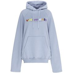 Vetements Logo print oversized hoodie (13.226.875 IDR) ❤ liked on Polyvore featuring tops, hoodies, sweaters, shirts, blue, blue shirt, blue hoodie, oversized hoodies, oversized hooded sweatshirt and hooded sweatshirt
