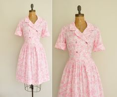 60s pink vintage dress / 1960s floral button by simplicityisbliss, $68.00