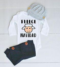 Fleece Navidad Outfit for Baby Boy - Funny Baby Boy Christmas Onesie® - Feliz Navidad Onesie® - Funny Christmas Bodysuit for Boys