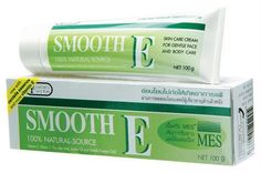 Smooth E 100% Natural Source Cream (100g) (Vitimin E, Aloe Vera, Scars) Amazing of Thailand by TOP BEST PRODUCTS. $32.00. Smooth E 100% Natural Source Cream (100g)     Benefits Reduces scars, black spots and fine lines for smoother skin. ? 100% Natural source of Alpha-Tocopherol (Natural Vitamin E): helps reduce scar, flight free radicals, fine lines and aid skin smoothing. ? Reducing stretch marks during and after pregnancy ? Reduce wrinkle on your face, hand and body to a l...
