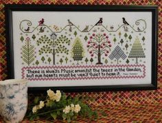 Rosewood Manor Music Amongst the Trees - Cross Stitch Pattern. There is always music amongst the trees in the garden, but our hearts must be very quiet to hear