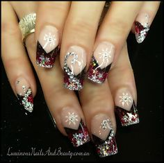 Luminous Nails: Glittery Red Xmas Nails with Snow Flakes & Bling!