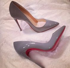 christian louboutin 'so kate 120' in grey patent. grey's such an underrated colour. #shoeporn