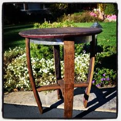 Custom wine barrel table from Discarded Designs