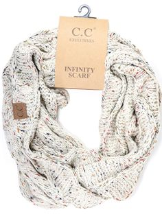 CC has you covered in your favorite scarf to match your favorite beanie style. These flecked infinity scarves make a perfect pair with the CC flecked beanie! 100% acrylic