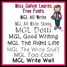 Miss Galvin Learns: Free Fonts