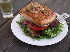 Salmon BLT Stacks with thick cut apple wood smoked bacon and a lemon caper vinaigrette... yum!
