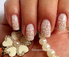 Bridal Lace  nail art by Debbie