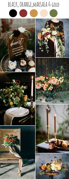 moody black,orange,marsala and gold autumn wedding color ideas wedding colors Chic Dark and Moody Fall Wedding Ideas and Colors Best Wedding Colors, Wedding Color Schemes, Wedding Themes, Autumn Wedding Colors, Autumn Weddings, Autumn Flowers, Autumn Theme, Autumn Wedding Decorations, Wedding Cakes