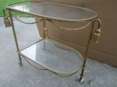 Vintage Brass Bar Cart  tea Italy Hollywood Regency   for sale seller girlsauction2 on ebay contact now