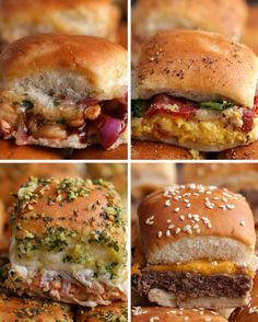 Sliders Four Ways: BBQ Chicken Sliders, Breakfast Sliders, Chicken Parmesan Sliders, Cheeseburger Sliders Breakfast Slider, Chicken Breakfast, Cheeseburger Sliders, Hamburger Sliders, Sliders Burger, Beef Sliders, Cheeseburgers, Pulled Pork Sliders, Chicken Sliders