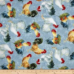 Early to Rise Roosters Allover Blue from @fabricdotcom  Designed by Danhui Nai for Wilmington, this cotton print fabric features roosters mingling while the chickens keep eggs warm. Perfect for quilting, apparel and home decor accents. Colors include white, grey, cream, tan, brown, yellow, orange, burnt orange, shades of blue and red, green, dark green, black and taupe.