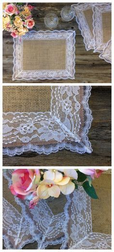 Burlap Placemats with WHITE Lace - Country Wedding -Rustic C.- Burlap Placemats with WHITE Lace – Country Wedding -Rustic Country Wedding – Farmhouse Decor – Rustic Country Home – French Country Decor - Burlap Projects, Burlap Crafts, Diy And Crafts, Arts And Crafts, Decoration Hall, Decoration Christmas, Table Decorations, Rustic Farmhouse Decor, Rustic Decor
