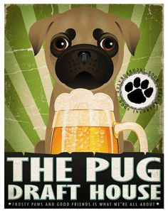 Pug+Drinking+Dogs+Original+Art+Poster+Print++by+DogsIncorporated,+$29.00