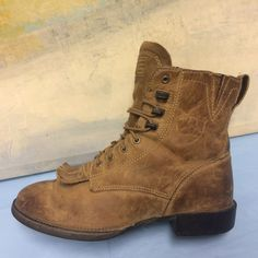 9077589dd0 ARIAT Brown Lacer Cowgirl Kiltie Boots Rodeo 33525 Womens US Size 6 B