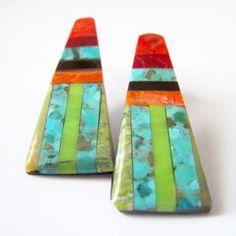 Kewa Mod Earrings by Santo Domingo artist Charlene Reano - Beyond Buckskin Boutique