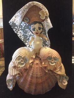 """Large Vintage Folk Art Seashell Figurine Shell Lady Doll 11"""" Tall"""