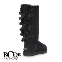 UGG BAILEY BOW TALL BLACK BOOTS - WOMEN'S