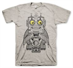 Robot Owl Men's Funny Heather Gray Tshirt in S M L XL by apesnort, $14.95