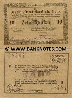 German East Africa 10 Rupien 1916 -  Printer: Deutsch-Ostafrikanische Zeitung G.M.B.H. Daressalam. Right signature: A. Frühling.