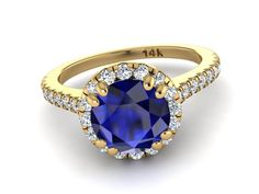 Blue Sapphire ring, Yellow gold ring, Diamond Engagement ring, Diamond Wedding Ring, Custom made Engagement Ring, Diamond halo proposal ring by BridalRings on Etsy https://www.etsy.com/listing/491349017/blue-sapphire-ring-yellow-gold-ring