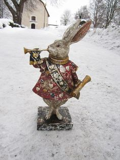White Rabbit ~ Alice In Wonderland Alice Rabbit, Rabbit Art, Rabbit Hole, Rabbit Sculpture, White Rabbits, Bunny Art, Lewis Carroll, Mad Hatter Tea, Adventures In Wonderland