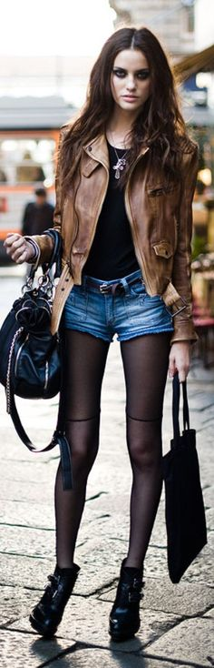 Love it! :D ♥ ---- Alejandra Alonso - edgy outfit for a cool day it would be cuter if the jacket was red though