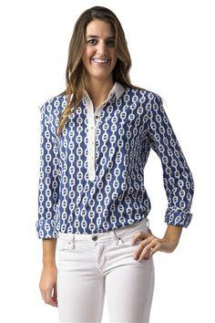Tara Michelle Isabelle Navy Chain Print Shirt