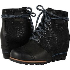 SOREL 1964 Premiumtm Wedge (Black 3) Women's Cold Weather Boots (€115) ❤ liked on Polyvore featuring shoes, boots, sorel boots, platform wedge boots, lace up wedge boots, high heel platform boots and lace-up boots