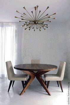 Купить или заказать дизайнерский круглый обеденный стол из массива ясеня или дуба Евгения в интернет-магазине на Ярмарке Мастеров. Круглый обеденный стол может быть выполнен из массива ясеня, дуба. Размеры: диаметр 1200 мм, высота 760 мм . Материал, цвет и техника окрашивания на выбор. Возможно изготовление нестандартных размеров! Поверхность мебели обрабатываем экологичным гипоаллергенным маслом с добавлением воска. Это создает благородную шелковисто-матовую поверхность, масло не образует…